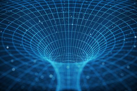 Tunnel d'illustration 3D ou trou de ver, tunnel qui peut relier un univers à un autre. Vitesse tunnel abstrait chaîne dans l'espace, trou de ver ou trou noir, scène de surmonter l'espace temporaire dans le cosmos.