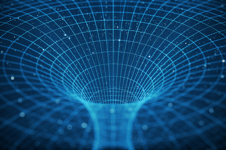 3D illustration tunnel or wormhole, tunnel that can connect one universe with another. Abstract speed tunnel warp in space, wormhole or black hole, scene of overcoming the temporary space in cosmos. Standard-Bild