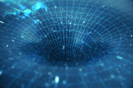 3Dイラストトンネルまたはワームホール、ある宇宙を別の宇宙に接続できるトンネル。宇宙、ワームホールやブラックホール、宇宙の一時的な空間を