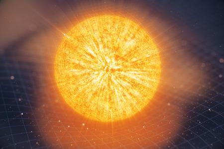 Illustration 3D La gravité du soleil plie l'espace autour d'elle. Avec effet bokeh. La gravité du concept déforme la grille de temps de l'espace autour de l'univers. Courbure de l'espace-temps. Banque d'images - 91533193