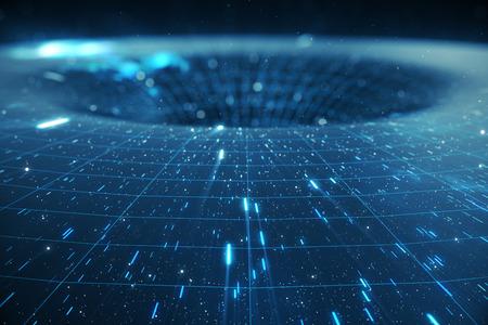 Tunnel oder Wurmloch der Illustration 3D, Tunnel, der ein Universum mit anderen verbinden kann. Abstrakte Geschwindigkeitstunnelverzerrung im Raum, Wurmloch oder schwarzes Loch, Szene des Überwindens des vorübergehenden Raumes im Kosmos. Standard-Bild - 91533194