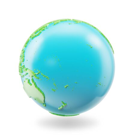 Earth globe isolated on white background. Globe planet Earth icon, 3D Rendering