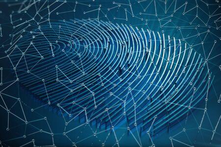 Fingerprint Scanning Identification System. Fingerprint scan provides security access with biometrics identification, 3D Rendering Standard-Bild