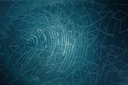 Fingerprint Scanning Identification System. Fingerprint scan provides security access with biometrics identification, 3D Rendering Stock Photo