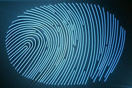 Fingerprint Scanning Identification System. Fingerprint scan provides security access with biometrics identification, 3D Rendering Stock Photo