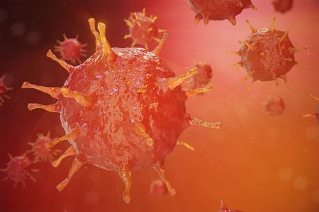 Ilustração 3d do vírus da gripe H1N1. Gripe Suína, organismo infectado, epidemia viral
