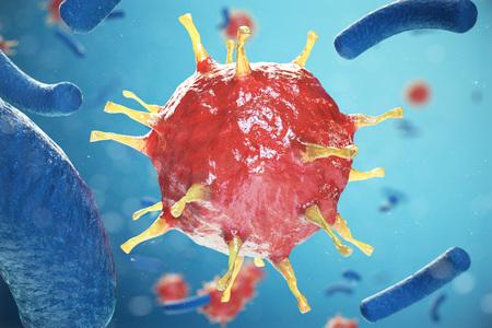 Chronic liver disease viral hepatitis infection, Hepatitis viruses in infected organism, 3d illustration Stock Photo