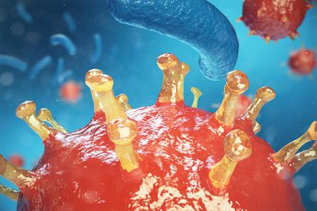 Virus dell'illustrazione 3d, batteri, organismo infettato cellula, priorità bassa astratta del virus. Virus dell'epatite nell'organismo infetto