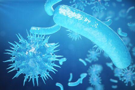 3d Illustration, Hepatitis, H1N1, HIV, FLU, AIDS viruses abstract background. Hepatitis viruses in infected organism Stock Photo