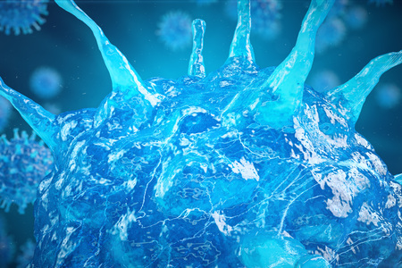 3d Illustration virus, bacteria, cell infected organism, virus abstract background. Hepatitis viruses in infected organism Stock Photo