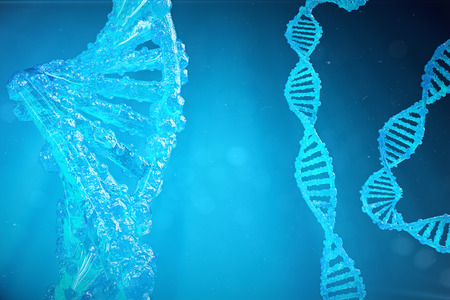 Helix DNA molecule with modified genes. Correcting mutation by genetic engineering. Concept Molecular genetics. 3d illustration