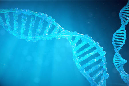 Helix DNA molecule with modified genes. Correcting mutation by genetic engineering. Concept Molecular genetics. 3d illustration Stock Illustration - 92331088