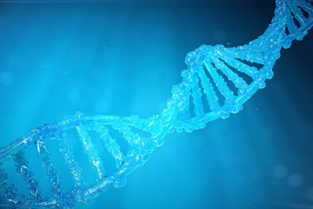 Helix DNA molecule with modified genes. Correcting mutation by genetic engineering. Concept Molecular genetics. 3d illustration Banco de Imagens - 92331097