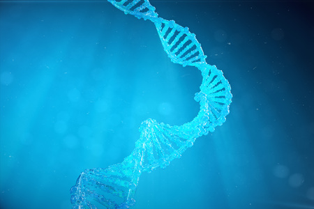 Helix DNA molecule with modified genes. Correcting mutation by genetic engineering. Concept Molecular genetics. 3d illustration Stock Illustration - 92331098