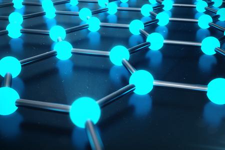 3D Rendering of Graphene atomic structure - nanotechnology background illustration