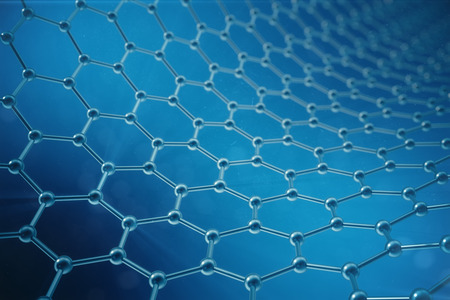 3d rendering abstract nanotechnology hexagonal geometric form close-up, concept graphene atomic structure, concept graphene molecular structure