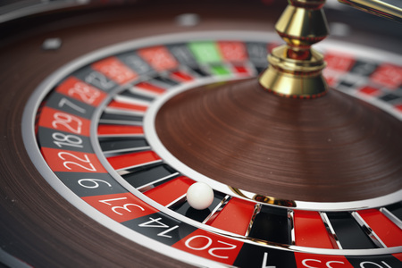 Las Vegas Casino Roulette 3D rendering concept. Casino Roulette Game. Casino Gambling Concept. Stock Photo