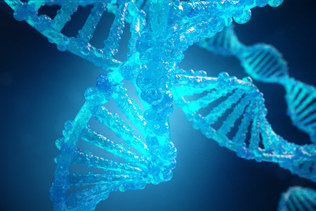 3D Illustration Helix DNA molecule with modified genes. Correcting mutation by genetic engineering. Concept Molecular genetics
