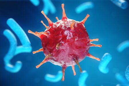 Viral hepatitis infection causing chronic liver disease, Hepatitis viruses. 3d illustration Stock Photo