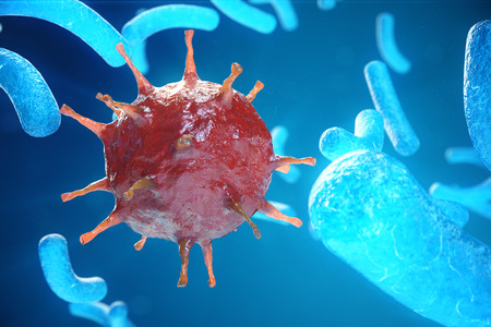 Viral hepatitis infection causing chronic liver disease, Hepatitis viruses. 3d illustration Banco de Imagens