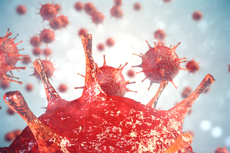 3d illustration virus, bacteria, cell infected organism, virus abstract background