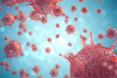 3d illustration pathogenic viruses causing infection in host organism, Viral disease outbreak, virus abstract background Stockfoto