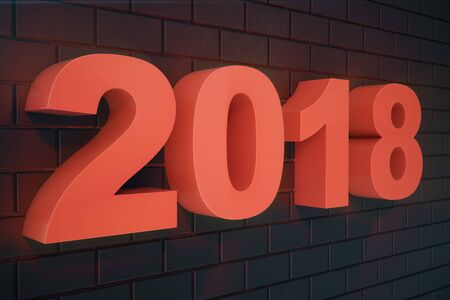 3D illustration 2018 text 3D Numbers. Happy New Year 2018 Text. Standard-Bild