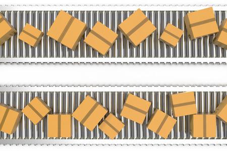 3D illustration Packages delivery, packaging service and parcels transportation system concept, cardboard boxes on conveyor belt. Stock Photo