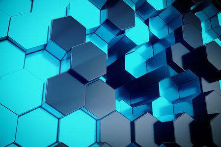 3D illustration blue abstract hexagonal geometric background. Structure of self-luminous hexagons in blue hue with volume light rays