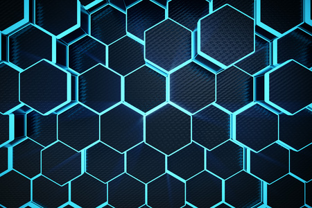 3D illustration blue abstract hexagonal geometric background. Structure of self-luminous hexagons in blue hue with volume light rays. Standard-Bild