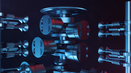 3d illustration of an internal combustion engine. Engine parts, crankshaft, pistons, fuel supply system. V6 engine pistons with crankshaft on a black background. Illustration of car engine inside Standard-Bild