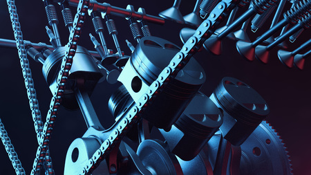 3d illustration of an internal combustion engine. Engine parts, crankshaft, pistons, fuel supply system. V6 engine pistons with crankshaft on a black background. Illustration of car engine inside Stock Photo