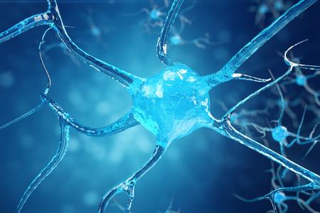 Conceptuele illustratie van neuroncellen met gloeiende linkknopen. Synaps en neuroncellen die elektrische chemische signalen verzenden. Neuron van onderling verbonden neuronen met elektrische pulsen, 3D illustratie
