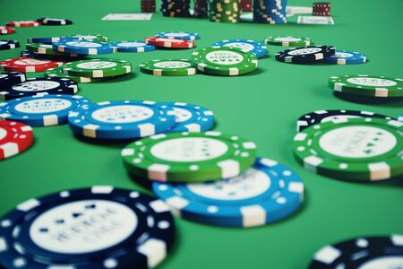 3D illustration playing chips, cards and money for casino game on green table. Real or Online casino concept. Stock Photo