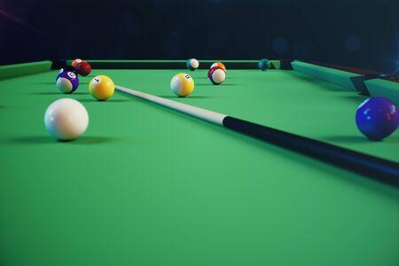 3D illustration recreation sport. Billiards balls with cue on green billiards table. Billiard sport concept. Pool billiard game