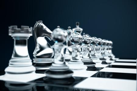 3D illustratie Schaakspel aan boord. Concepten zakelijke ideeën en strategie-ideeën. Glasschaakfiguren op een donkere achtergrond met scherptediepte-effecten.