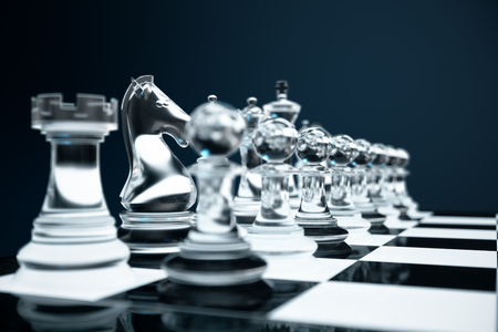 3D illustration Chess game on board. Concepts business ideas and strategy ideas. Glass chess figures on a dark background with depth of field effects.
