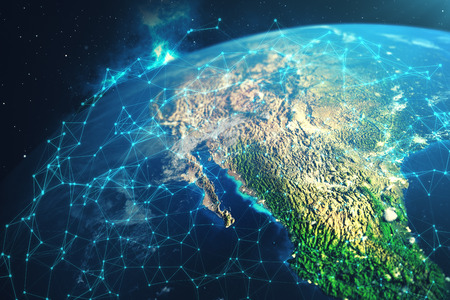 3D rendering Network and data exchange over planet earth in space. Connection lines Around Earth Globe. Global International Connectivity. Stockfoto