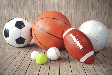 3d rendering sport balls on wooden backgorund. Set of sport balls. Sport equipment such us football, basketball, baseball, tennis, golf ball for team and individual playing for recreation and improve health.