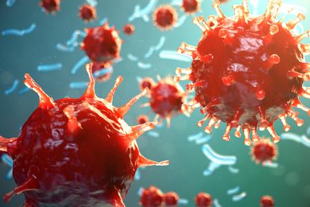 Viral hepatitis infection causing chronic liver disease. Hepatitis viruses. Influenza Virus H1N1. Swine Flu, cell infect organism. Virus abstract background. 3d illustration.