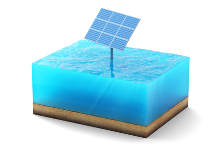 3d rendering of cross section of water cube isolated on white background. Blue Solar panel in the sea producing clean energy