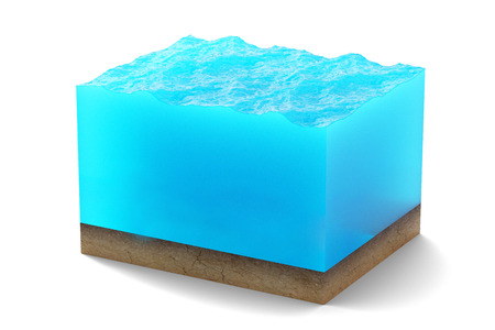 3d rendering of cross section of water cube with sandy bottom underwater isolated on white background.