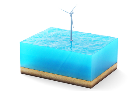 3d rendering of cross section of water cube isolated on white background. Wind turbine in the sea producing clean energy Stock Photo