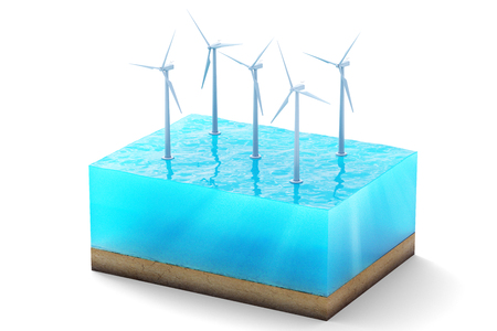 3d rendering of cross section of water cube isolated on white background. Wind turbines in the sea producing clean energy