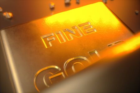 3D illustration close-up Gold Bars, weight of Gold Bars 1000 grams Concept of wealth and reserve. Concept of success in business and finance