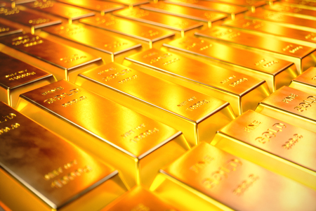 Stack Close-up Gold Bars, weight of Gold Bars 1000 grams Concept of wealth and reserve. Concept of success in business and finance, 3D illustration