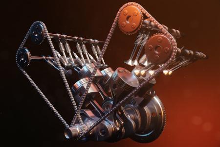 Illustration 3D d'un moteur à combustion interne. Pièces de moteur, vilebrequin, pistons, système d'alimentation en carburant. Pistons de moteur V6 avec vilebrequin sur fond noir. Illustration du moteur de la voiture à l'intérieur. Banque d'images