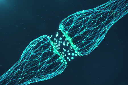 3D rendering blue glowing synapse. Artificial neuron in concept of artificial intelligence. Synaptic transmission lines of pulses. Abstract polygonal space low poly with connecting dots and lines