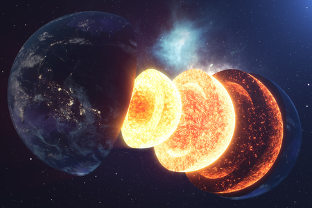 Structure core Earth. Structure layers of the earth. The structure of the earths crust. Earth cross section in space view.