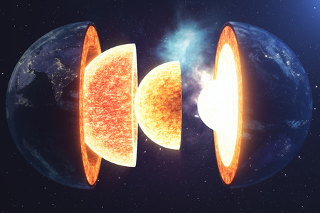 Structure core Earth. Structure layers of the earth. The structure of the earth's crust. Earth cross section in space view.